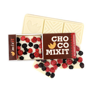 Mixit Čokoláda Mini - Bílá s červeným rybízem a borůvkami 50 g